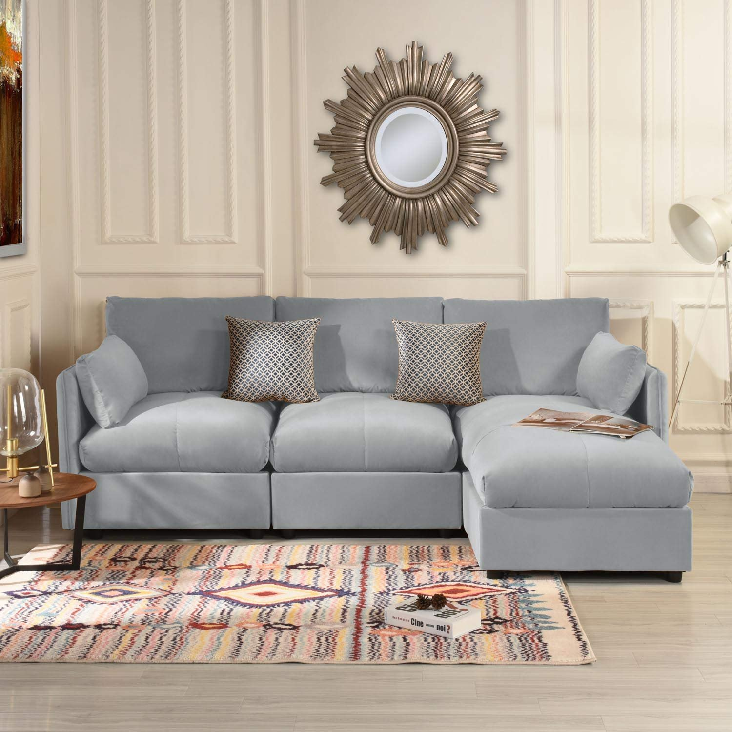 Details About Modern Living Room Velvet L Shape Couch Sectional Sofa Right Facing Chaise Grey
