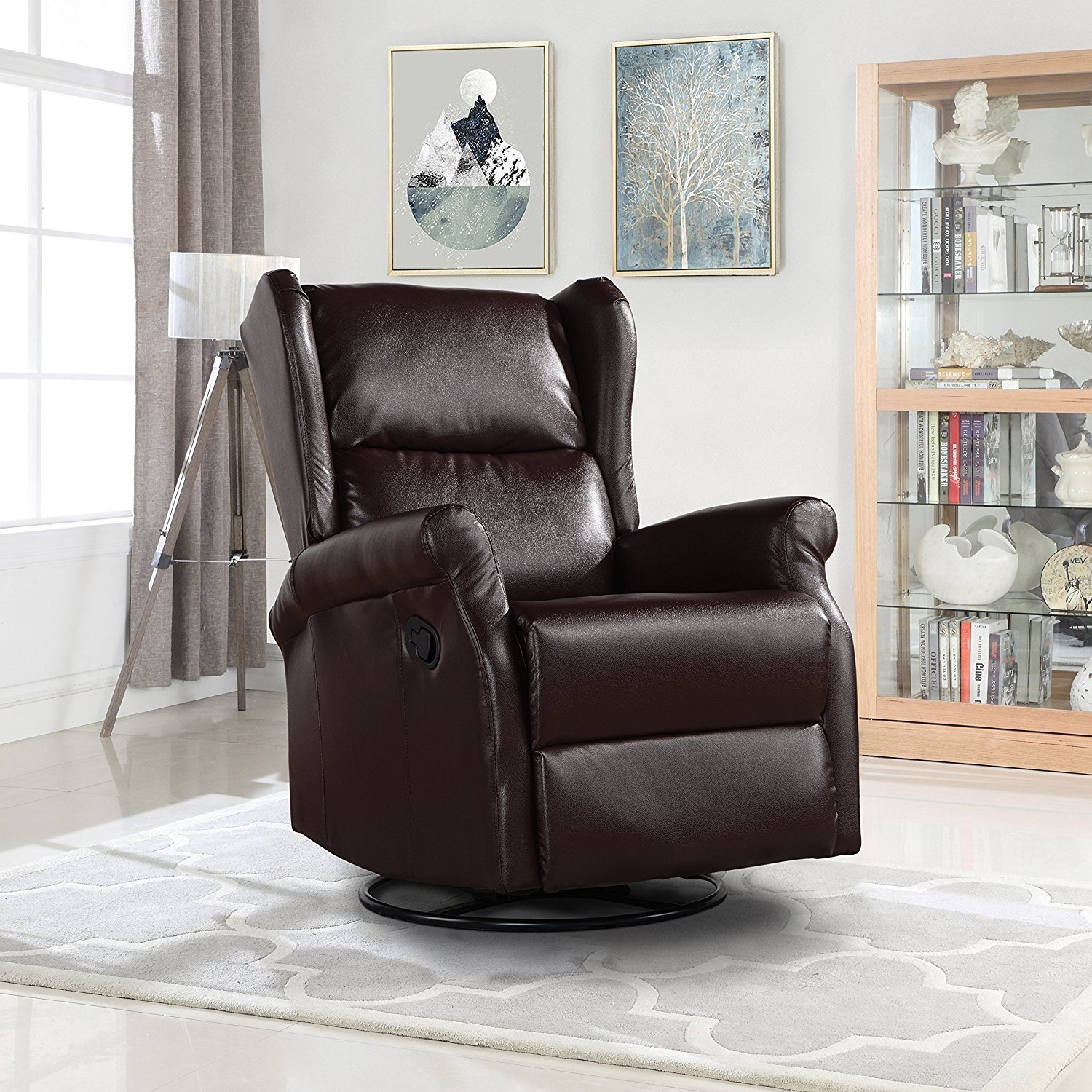 Details about Reclining Swivel Accent Chair for Living Room, Faux Leather  Arm Chair (Brown)