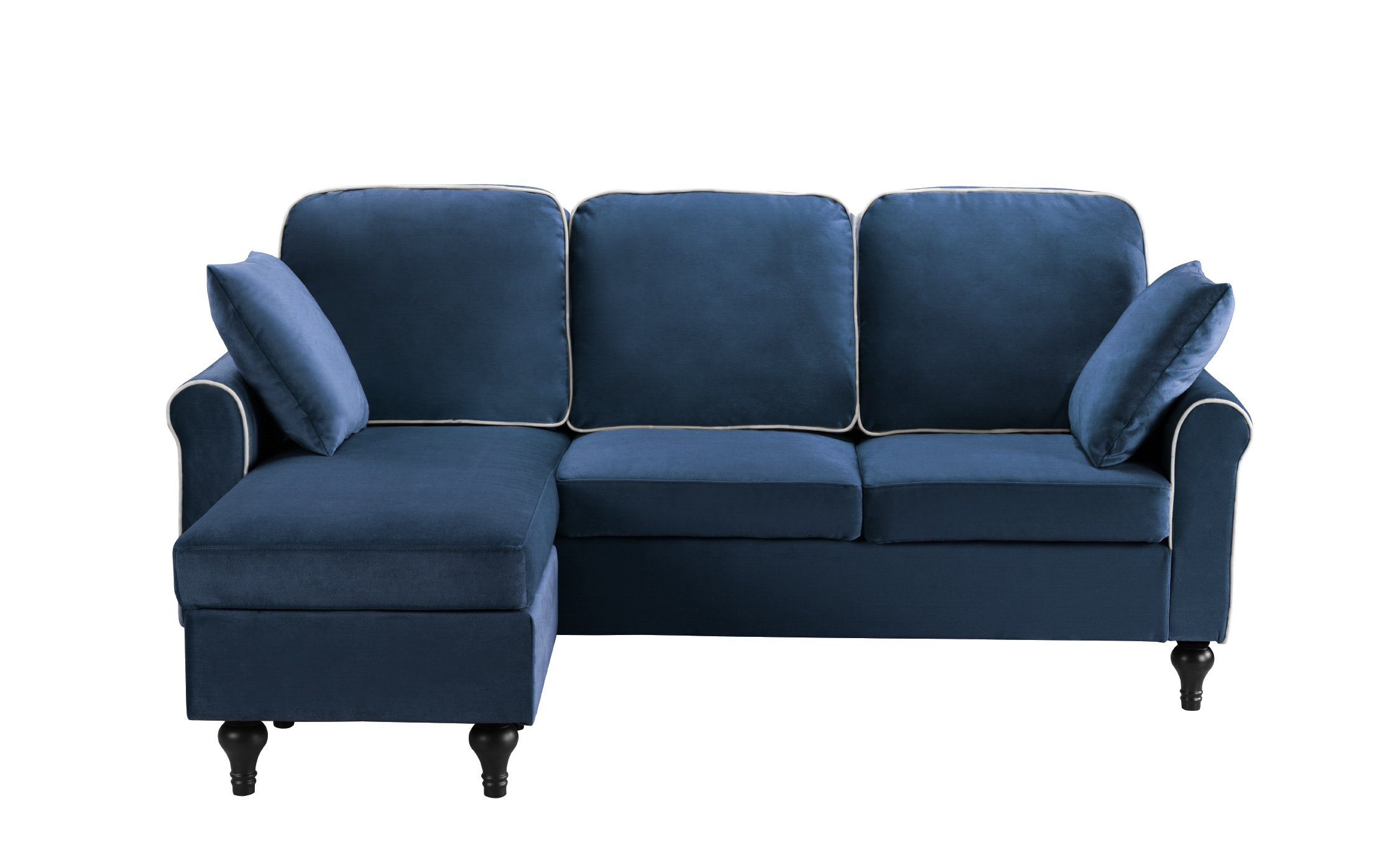 Classic Small Space Velvet Sectional Sofa with Reversible ...