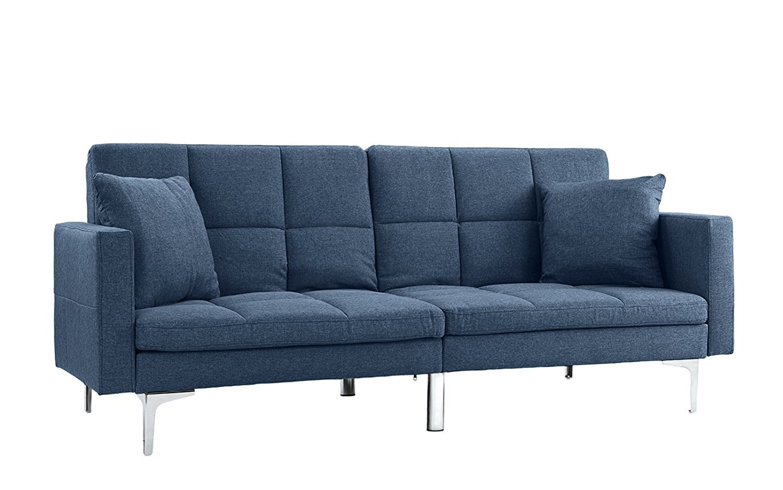 Modern Plush Tufted Splitback Living Room Small Space Futon Sofa Sky Blue