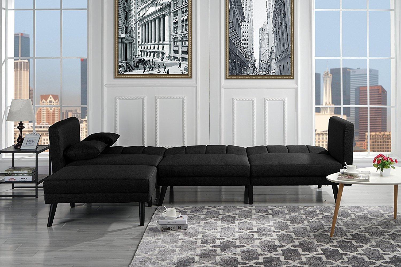 Mid Century Modern Style Fabric Sleeper Futon Sofa, Living ...