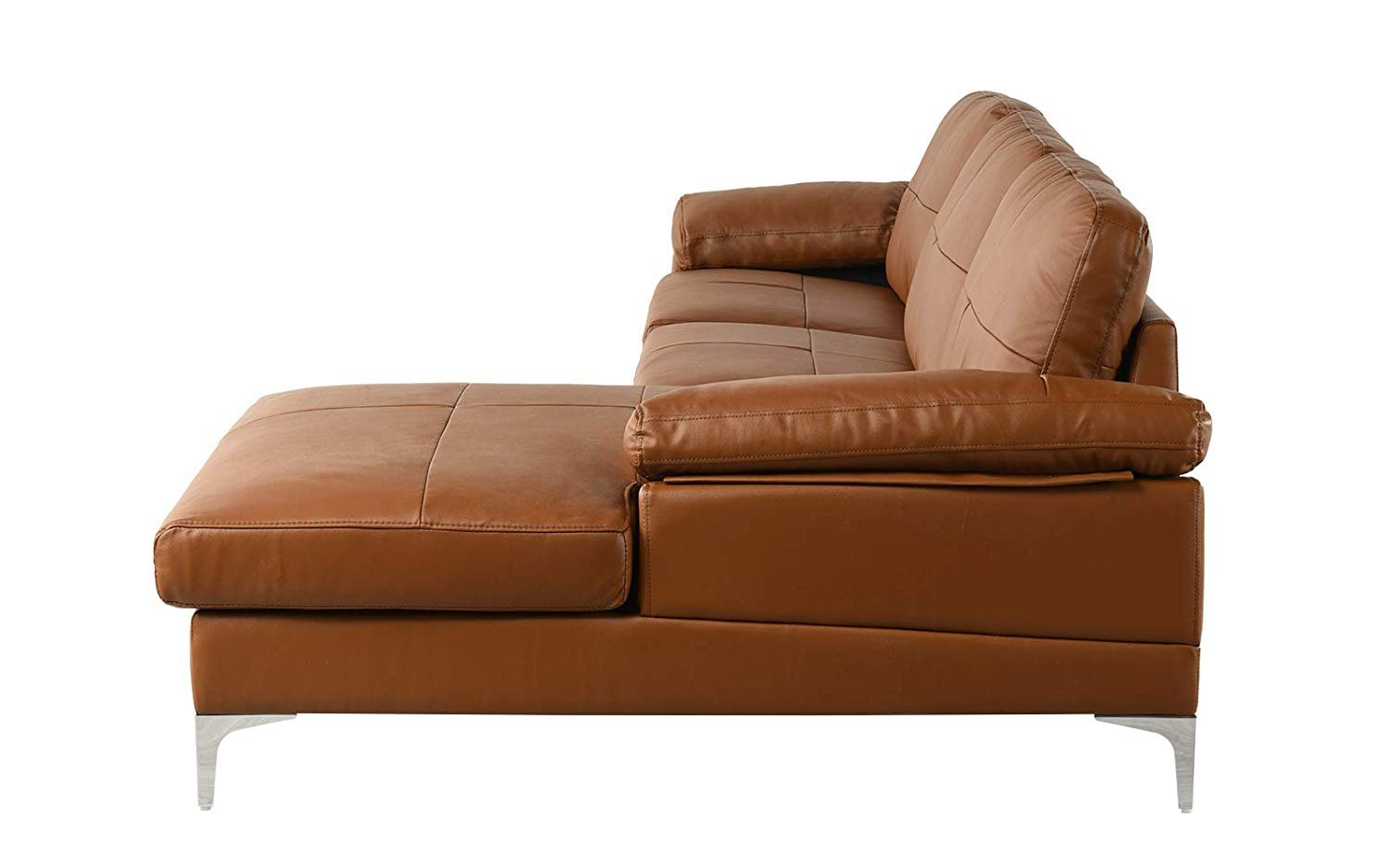 Camel Large Leather Sectional Sofa L Shape Couch