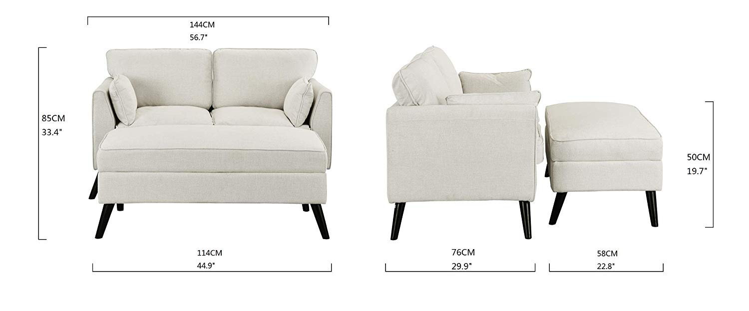 Upholstered Modern Small Space Loveseat 567 Inch W Ottomanfoot