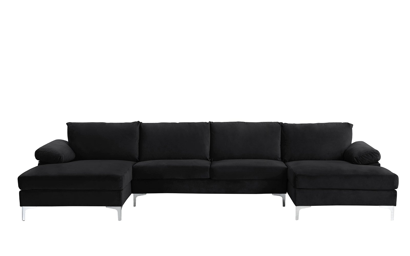 Modern Large Velvet U Shape Sectional Sofa, Double Wide ...