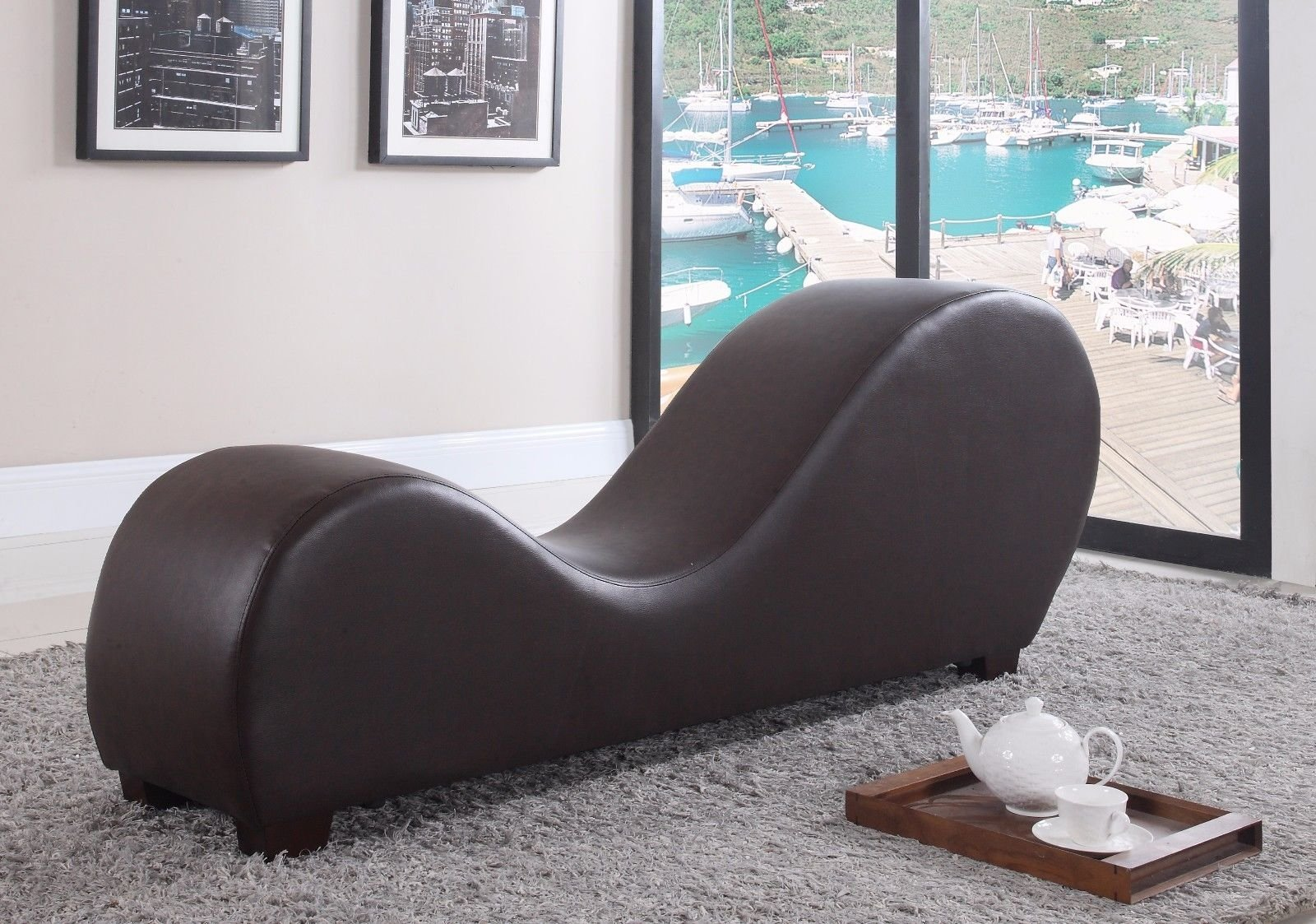 Brown Bonded Leather Yoga Chair Stretch Sofa Relax Chaise Lounge