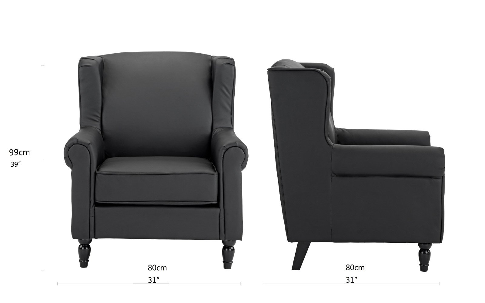 Black Faux Leather Chair: Classic Scroll Arm Faux Leather Accent Chair, Living Room