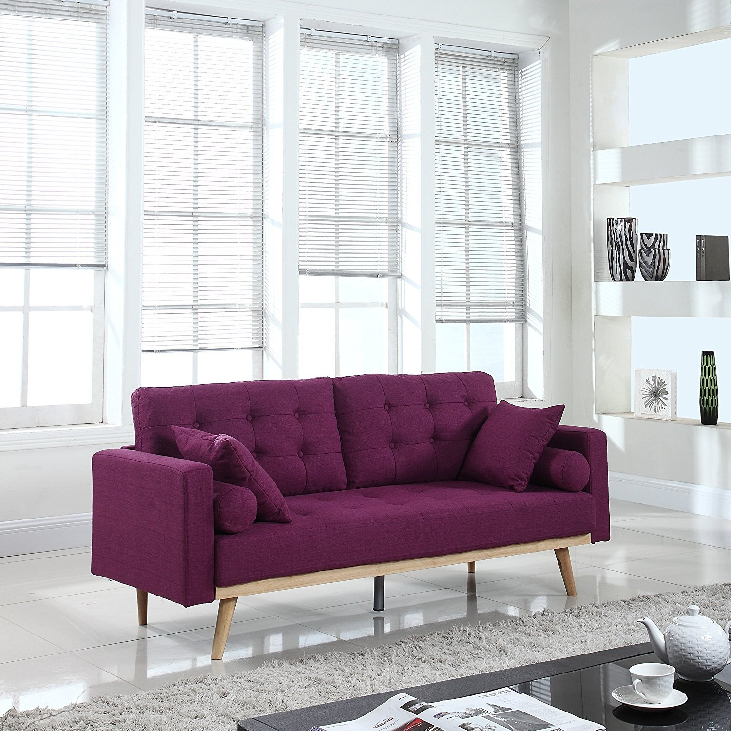 Details About Mid Century Modern Tufted Linen Fabric Sofa Wooden Frame Purple