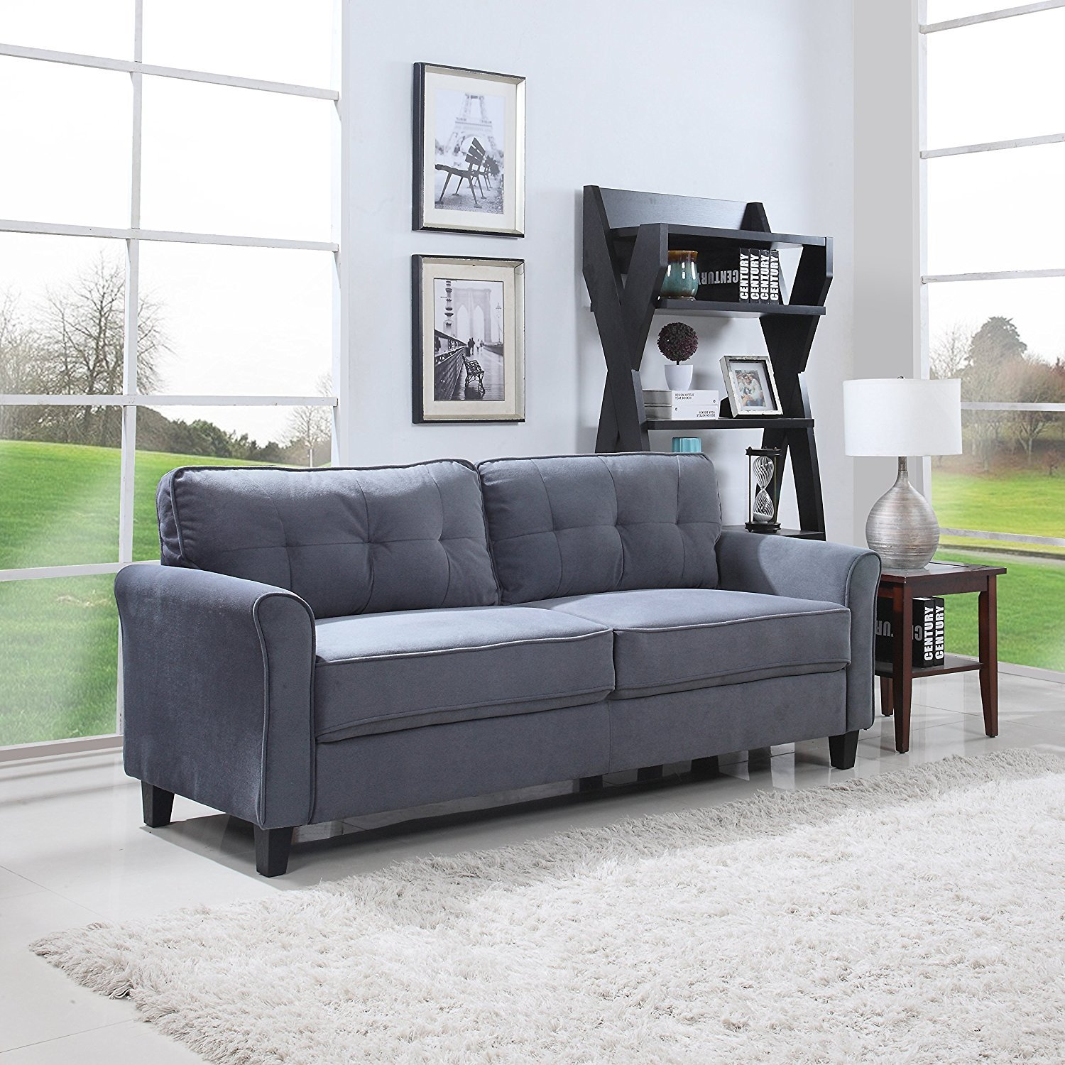 Etonnant Details About Classic Ultra Comfortable Brush Microfiber Fabric Living Room  Sofa (Dark Grey)