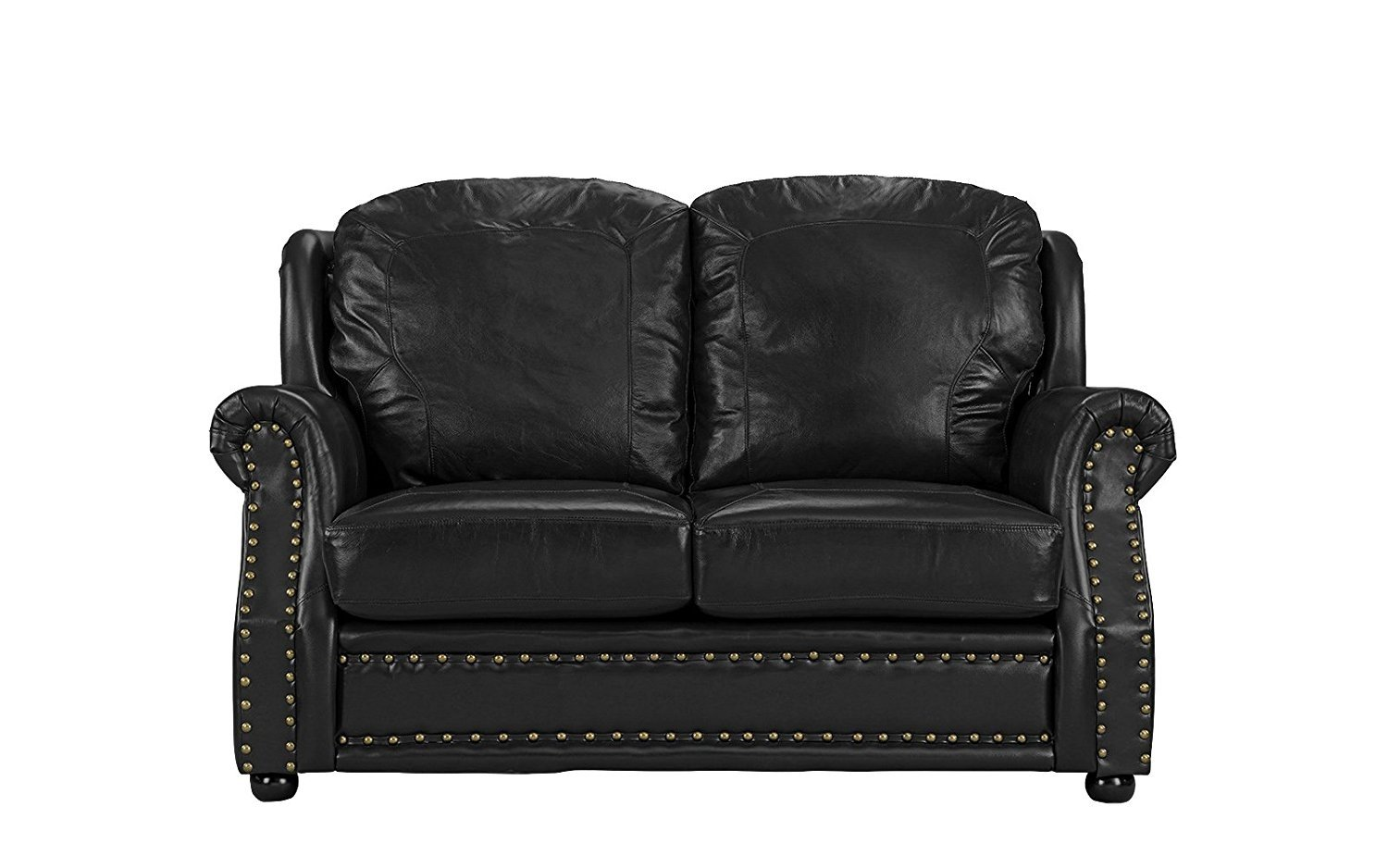Leather Sofa 2 Seater, Living Room Couch Love Seat with Nailhead ...