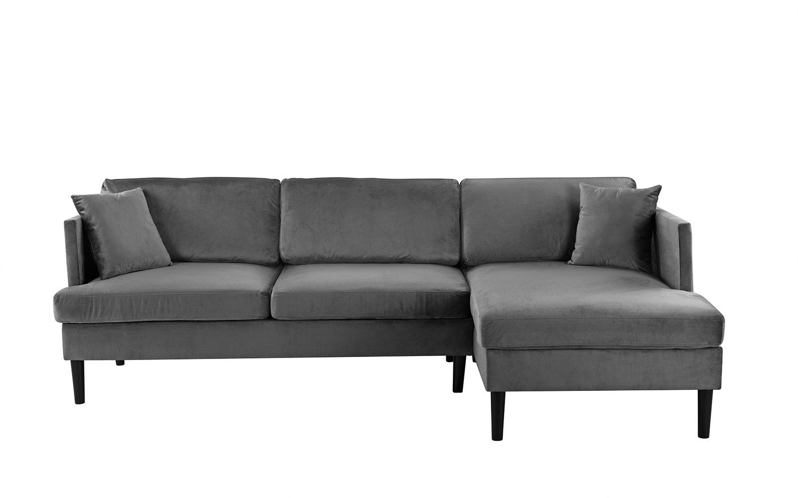 Mid Century Sectional Modern Velvet Sectional Sofa, L ...