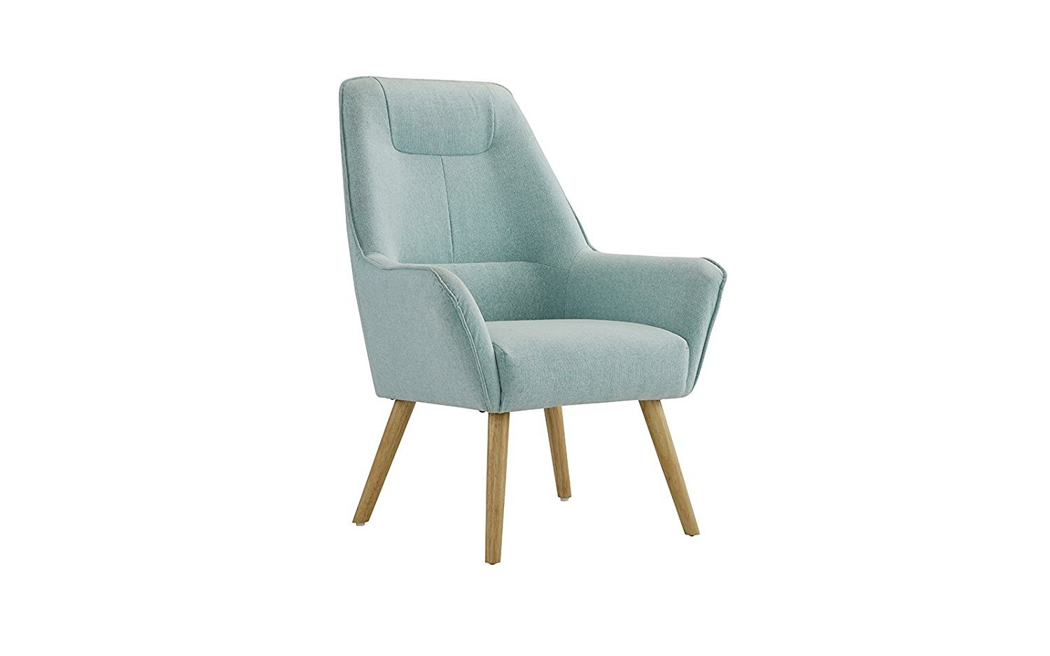 Modern Upholstered Linen Arm Chair With Natural Wooden