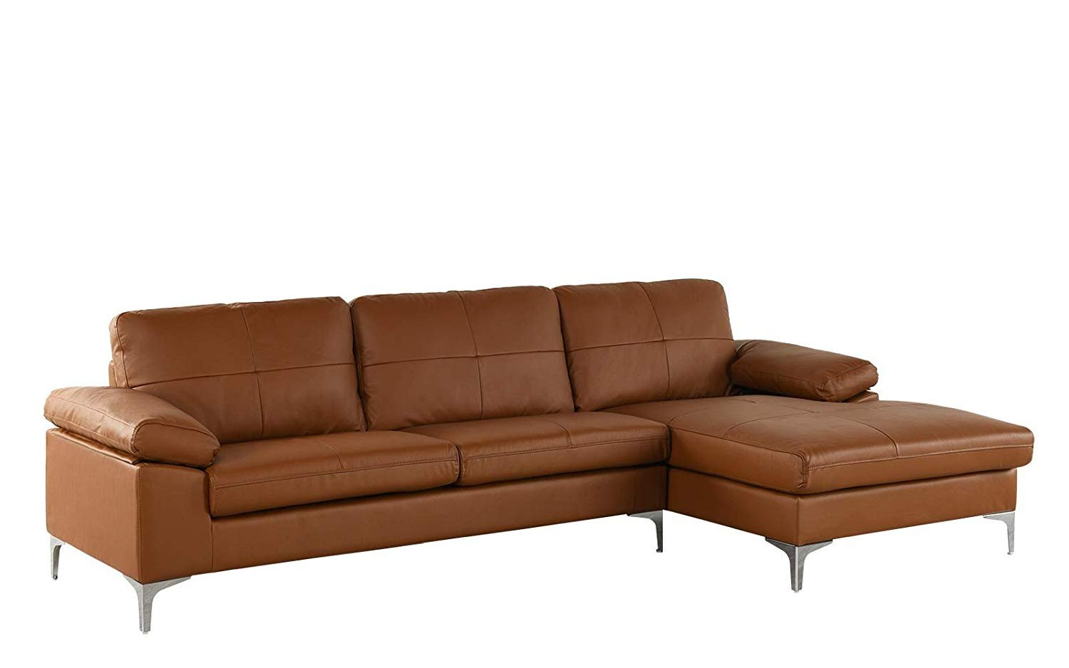 Details about Camel Large Leather Sectional Sofa, L-Shape Couch with  Chaise, 108.7\