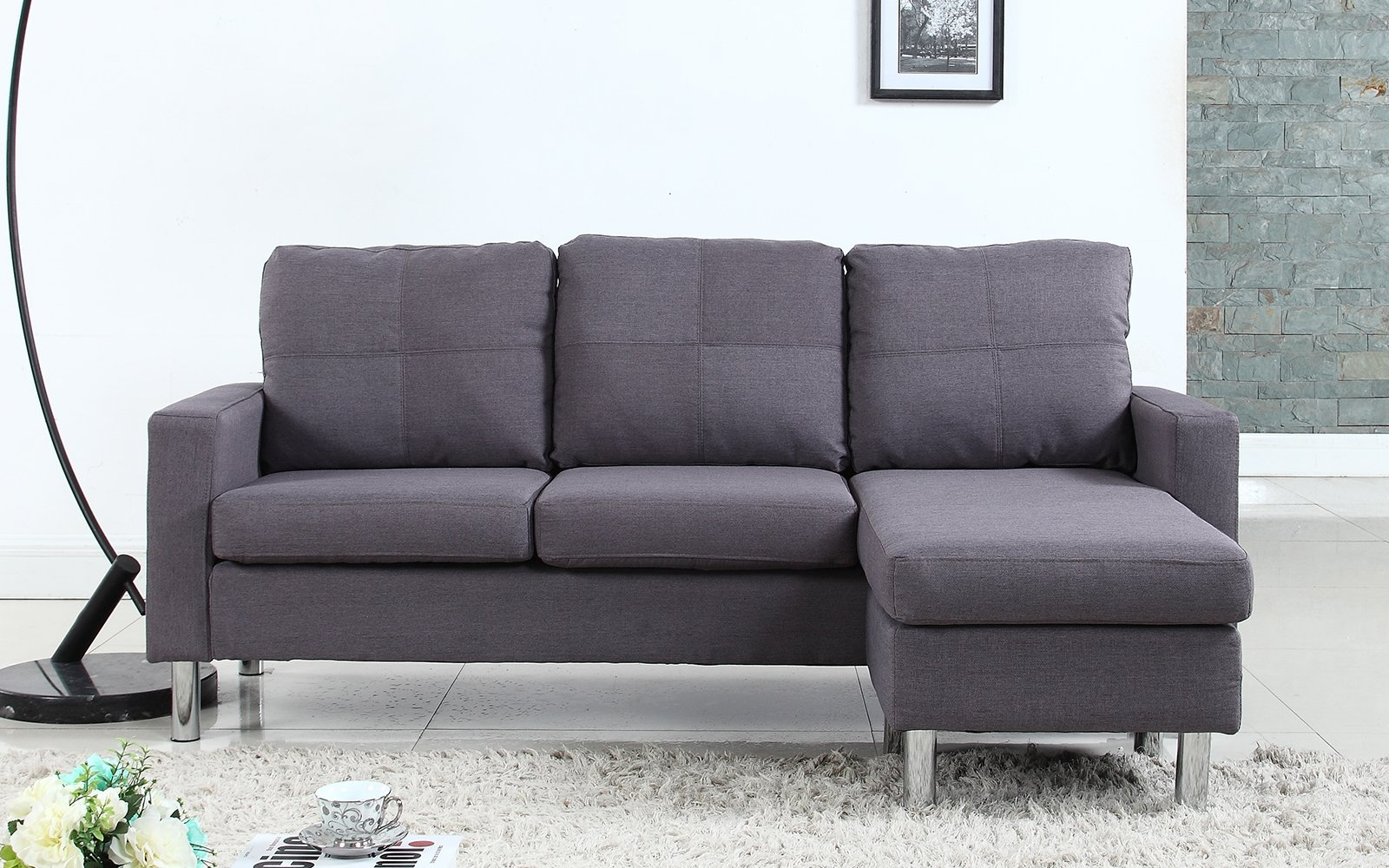 Image is loading modern small space reversible linen fabric sectional sofa