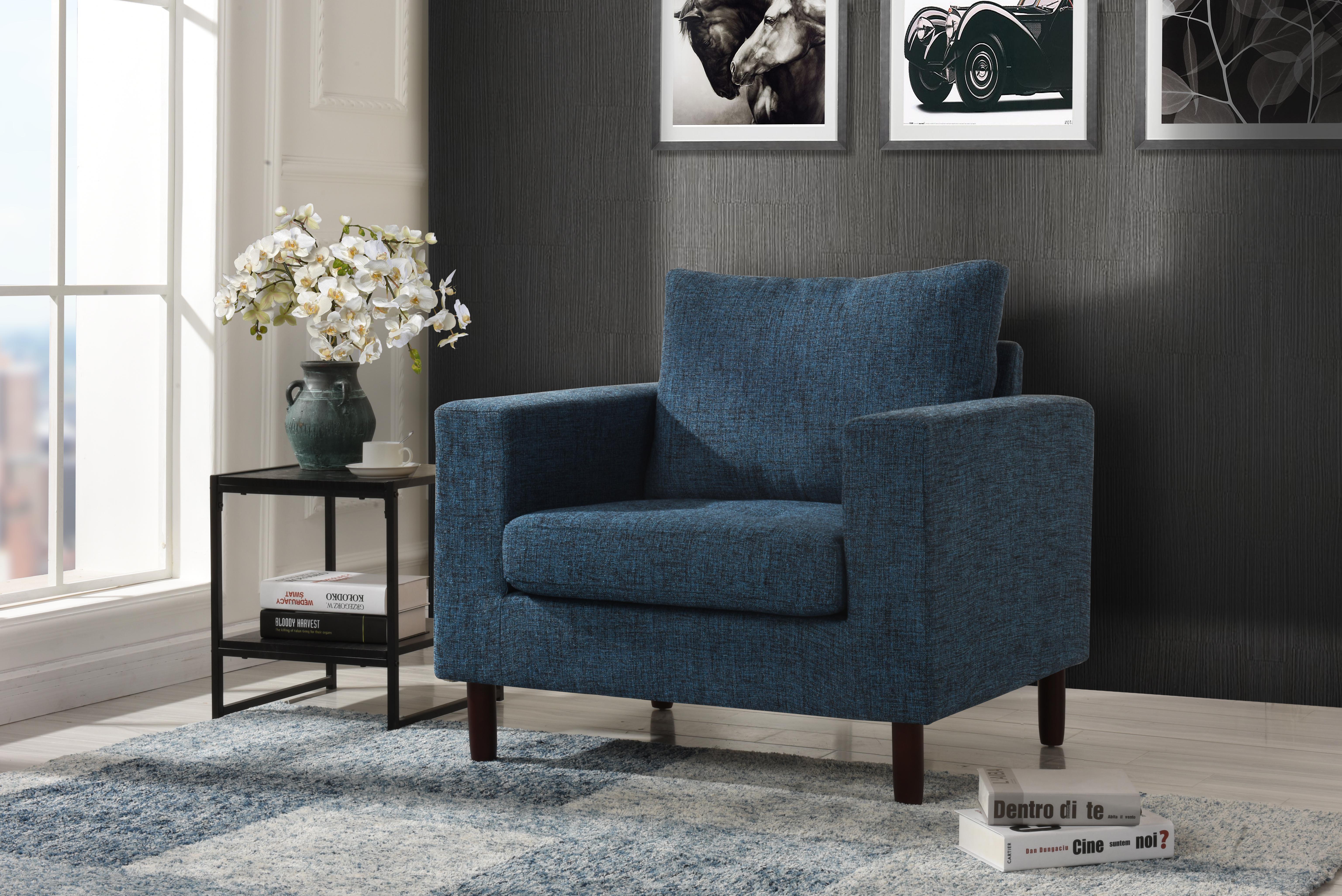 Modern Tufted Linen Fabric Armchair W Wooden Legs Living