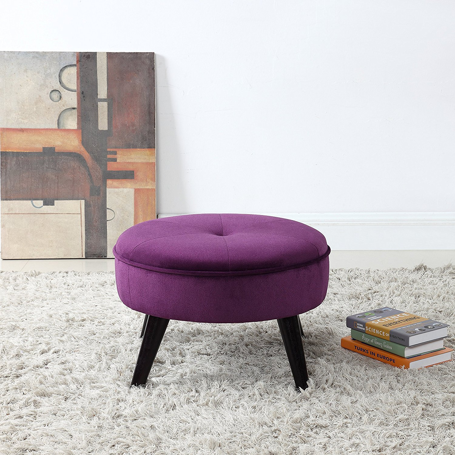 Prime Details About Classic Modern Tufted Large Velvet Round Footrest Footstool Ottoman Purple Gmtry Best Dining Table And Chair Ideas Images Gmtryco