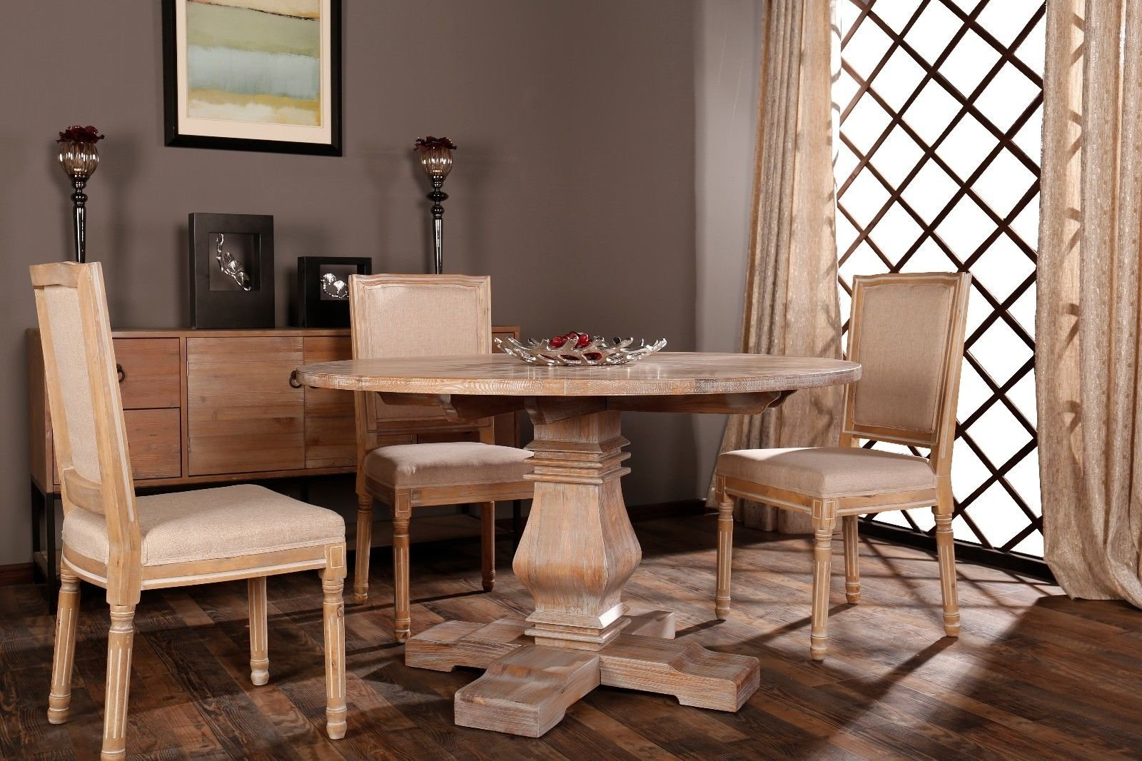 Clic Rustic Style Round Dining Room Kitchen Table With Distressed Details Beige