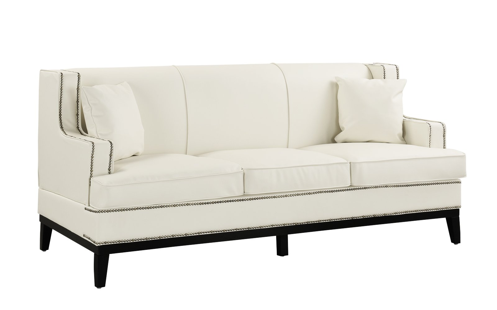 Details About White Contemporary Modern Bonded Leather Sofa With Nailhead  Trim Wooden Frame
