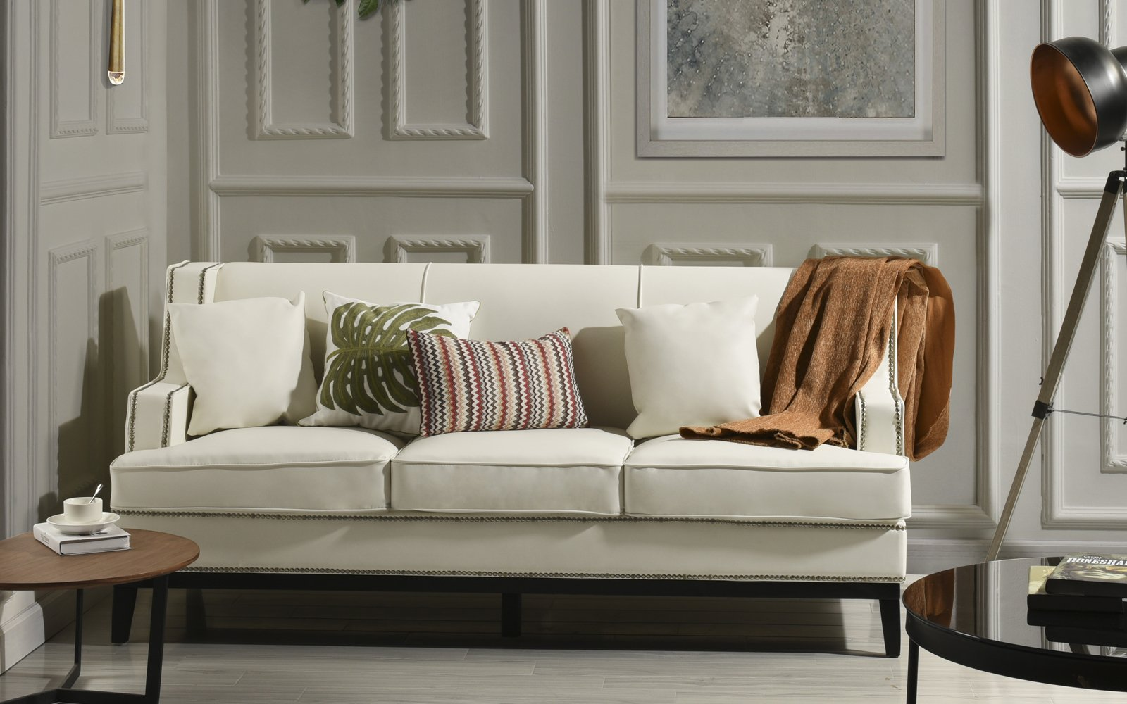 Details About Modern Soft Bonded Leather With Nailhead Trim Living Room Sofa In White