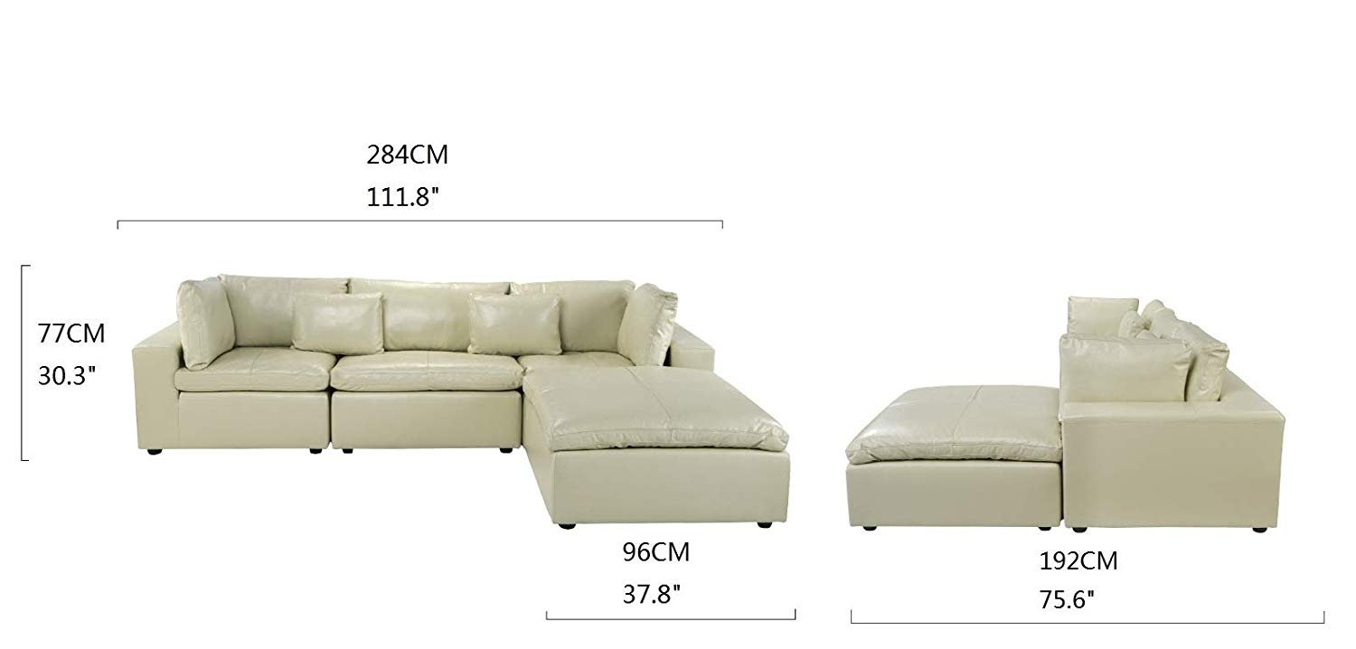 Leather Lounge Sectional Sofa L Shape Couch With Wide