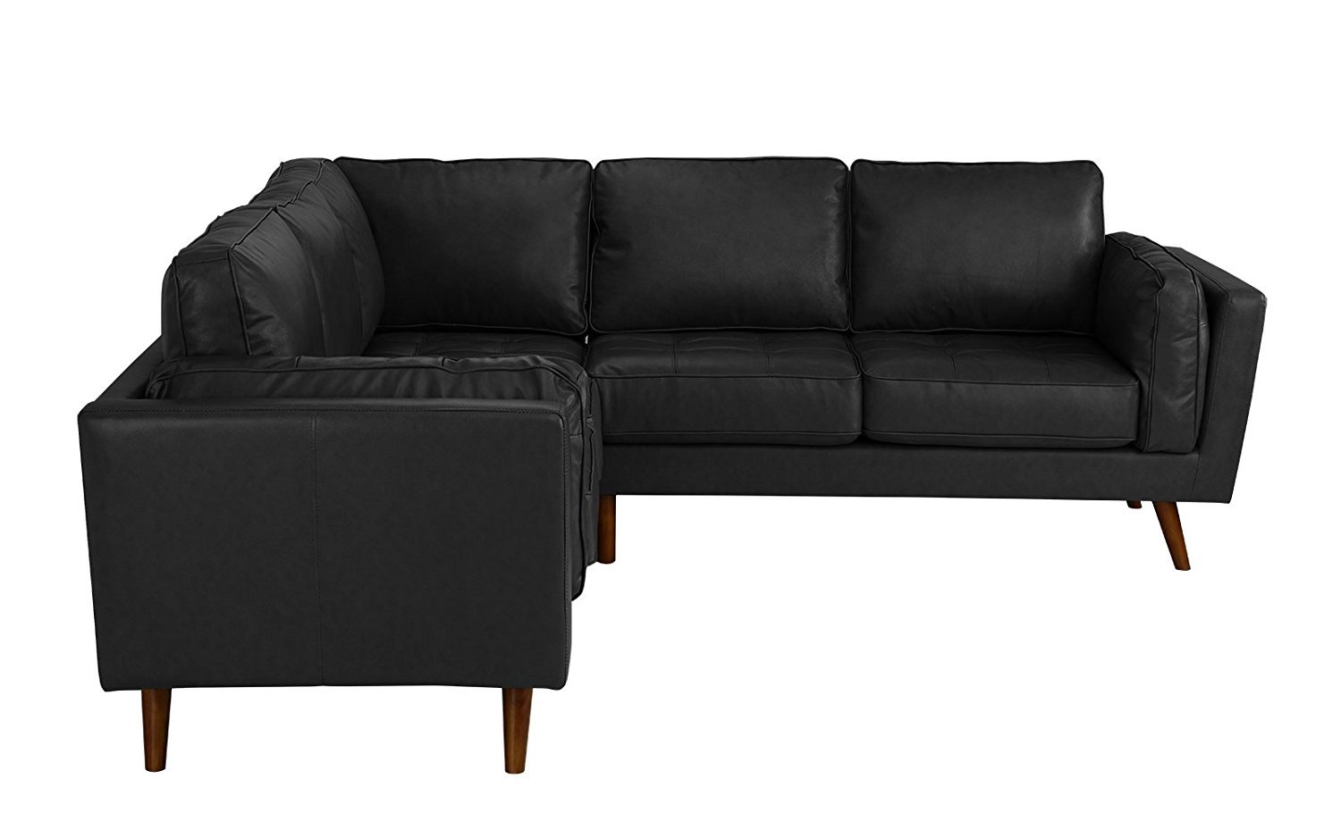 Details About Mid Century Couch Modern Tufted Leather Sectional Sofa Black
