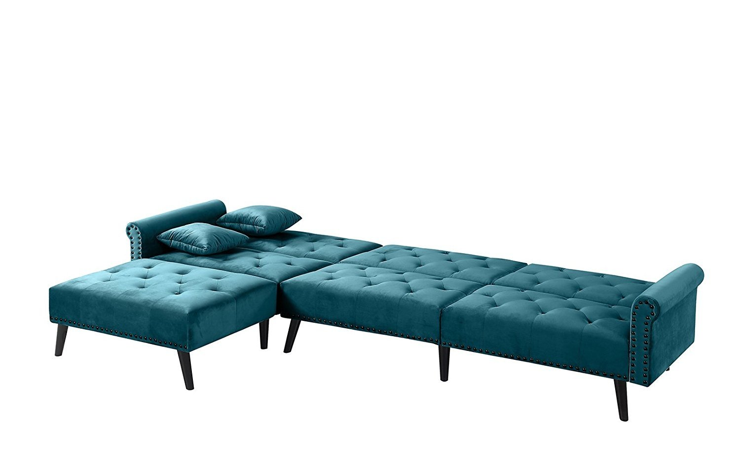 Details about Mid Century Style Velvet Sleeper Futon Couch, Living Room L  Shape Sofa, Teal