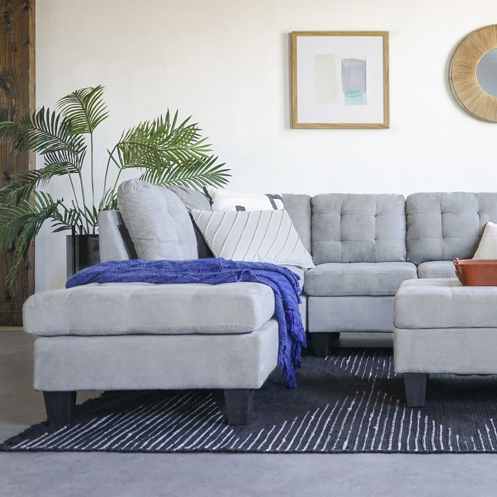 Sectional Sofa Microsuede Reversible Chaise