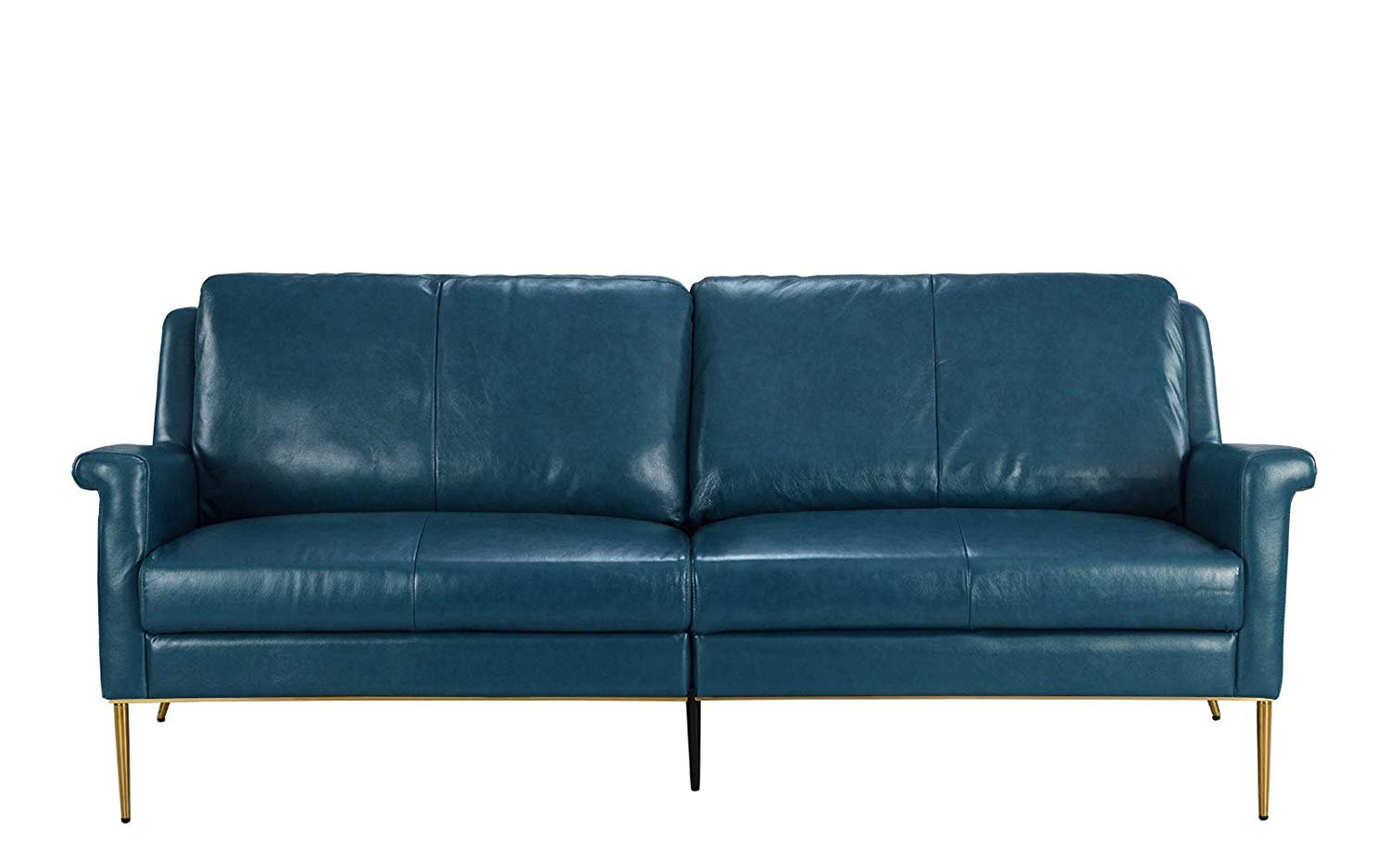 Details about Mid-Century Leather Sofa, Living Room Couch in Leather Match  Fabric (Blue)