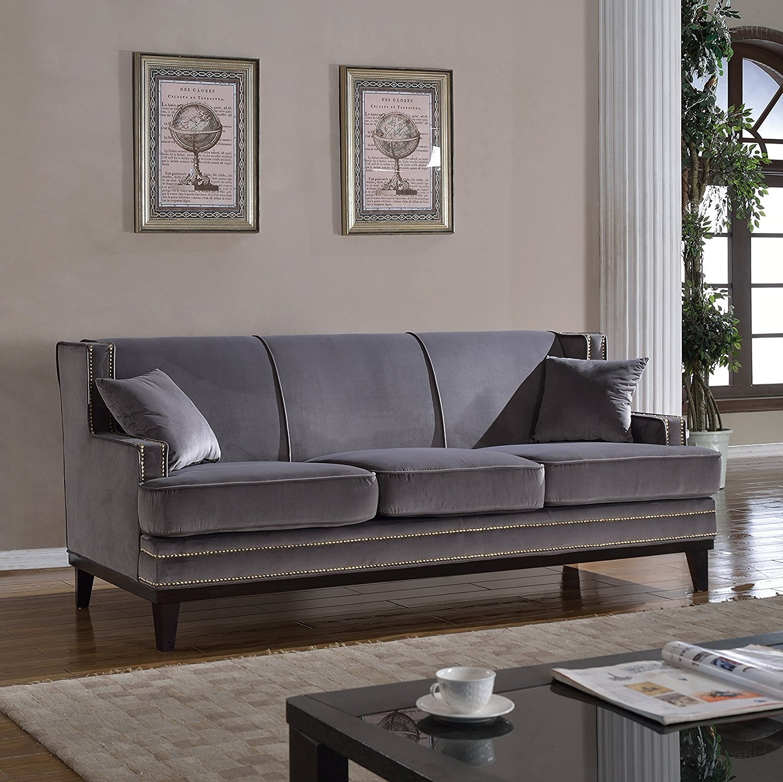 Modern velvet sofa nailhead trim