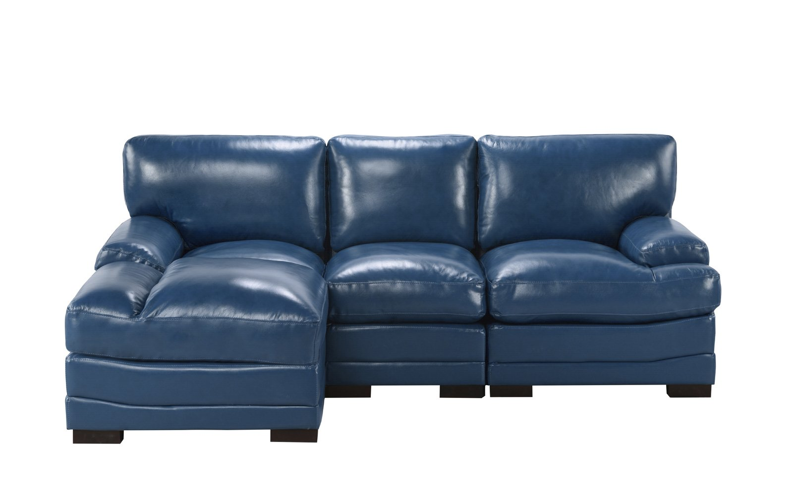 Enjoyable Details About Modern Left Facing Sectional Sofa Leather Match Fabric High Density Navy Blue Dailytribune Chair Design For Home Dailytribuneorg