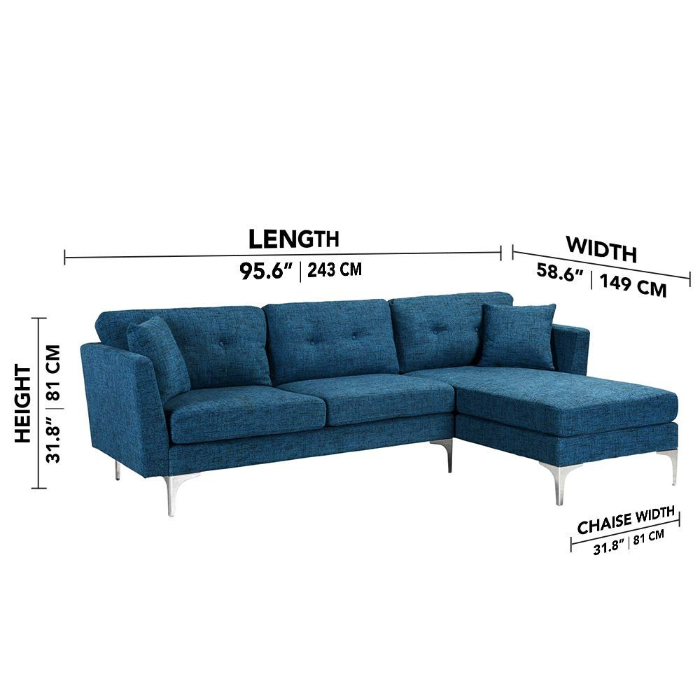 Details about Upholstered L-Shape Couch Sectional Sofa Couch Modern L Shape  Sectional in Navy