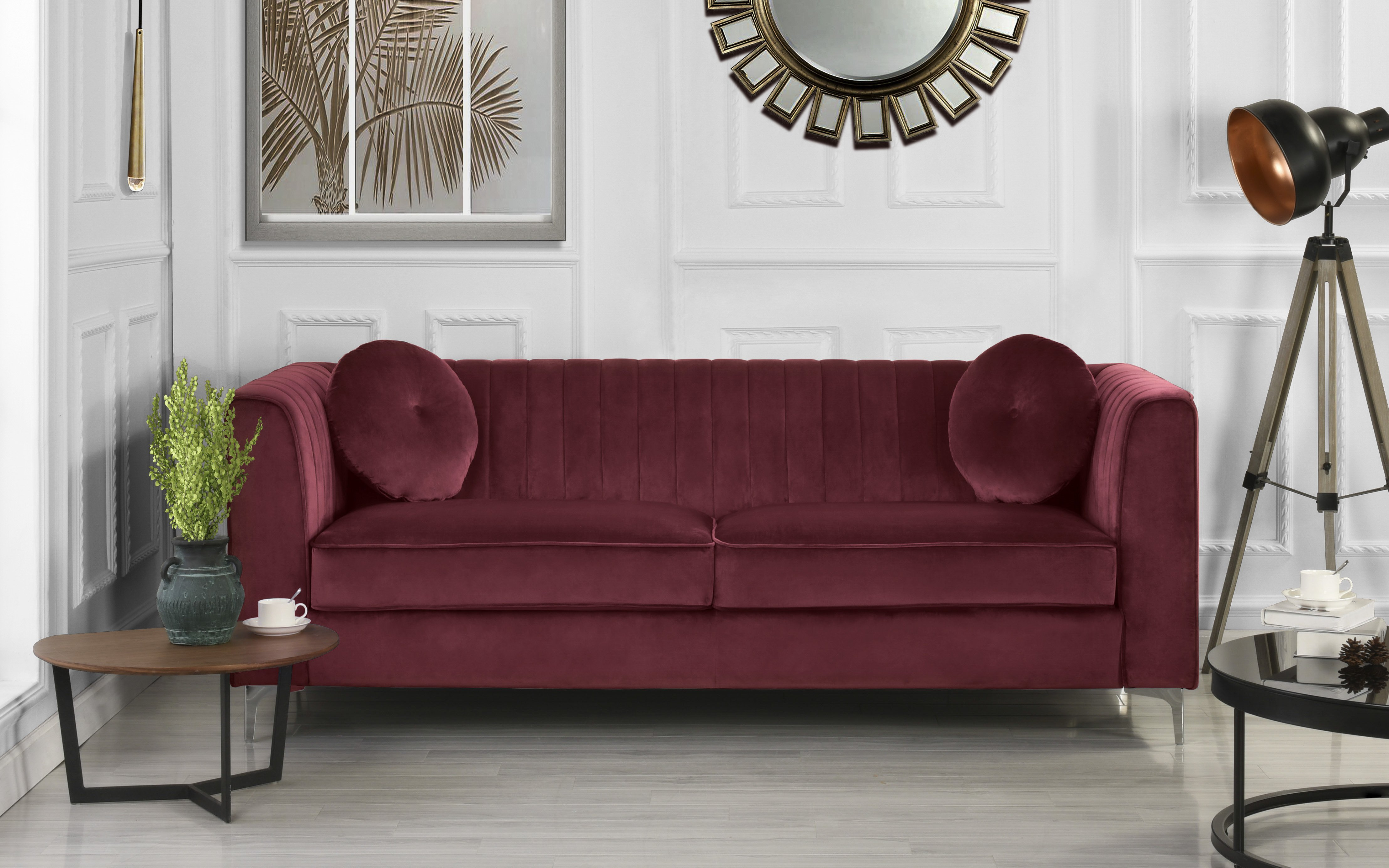 Details about Modern Living Room Sofa Sleek Velvet Frame Pleated High  Density Couch in Red