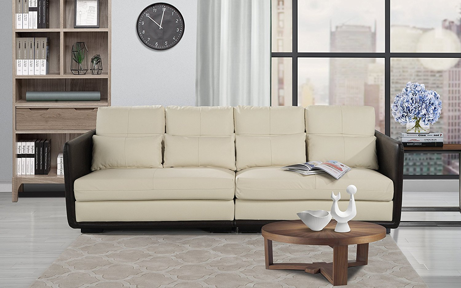Classic 2 Piece Convertible Living Room Leather Sofa, Adjustable ...