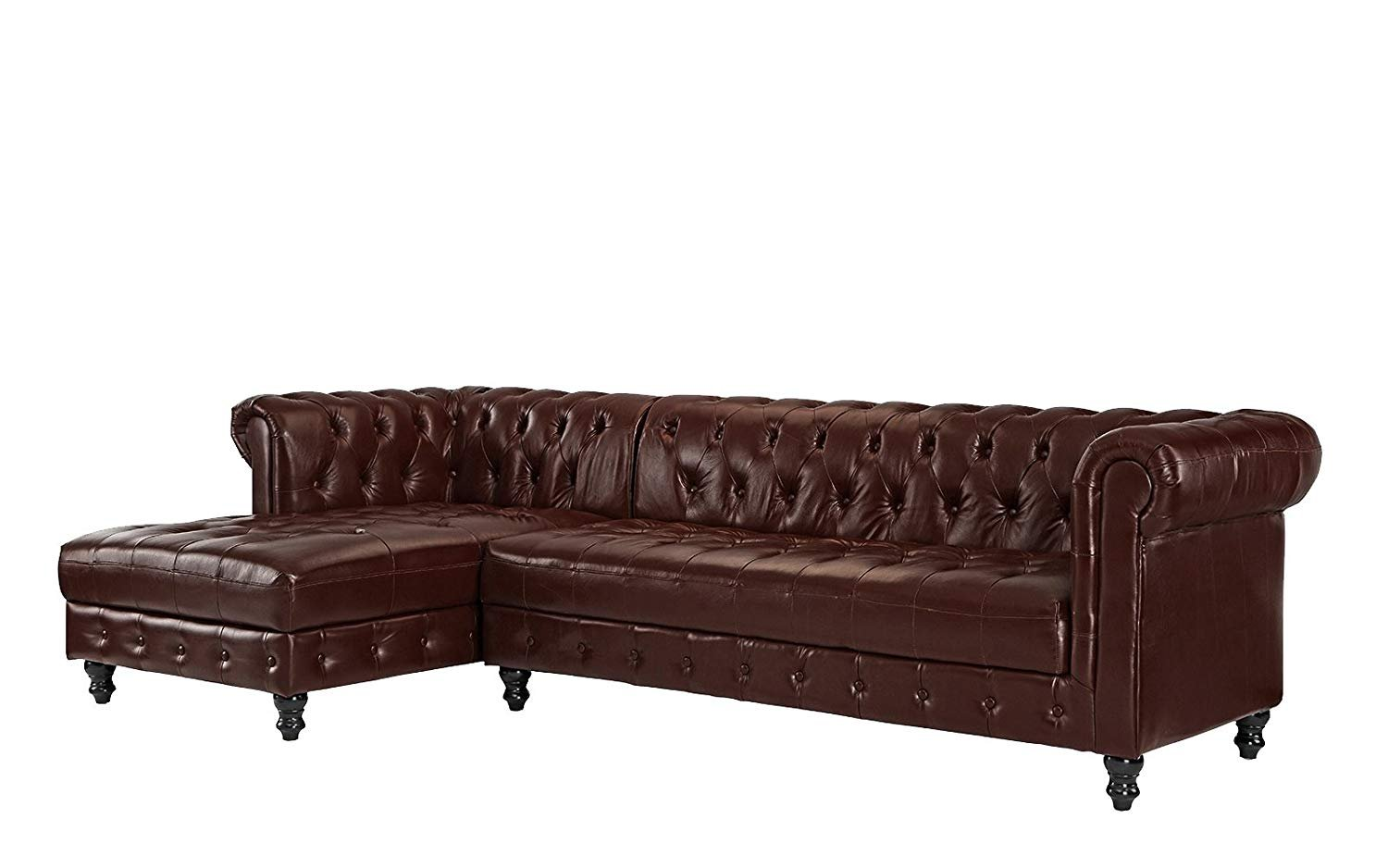 real tufted leather chesterfield l shape sectional sofa left chaise dark brown 662187612881 ebay. Black Bedroom Furniture Sets. Home Design Ideas