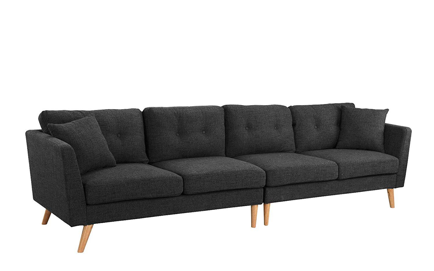 Details about Modern Family Room Couch Upholstered Large Fabric Sofa,  114.9\
