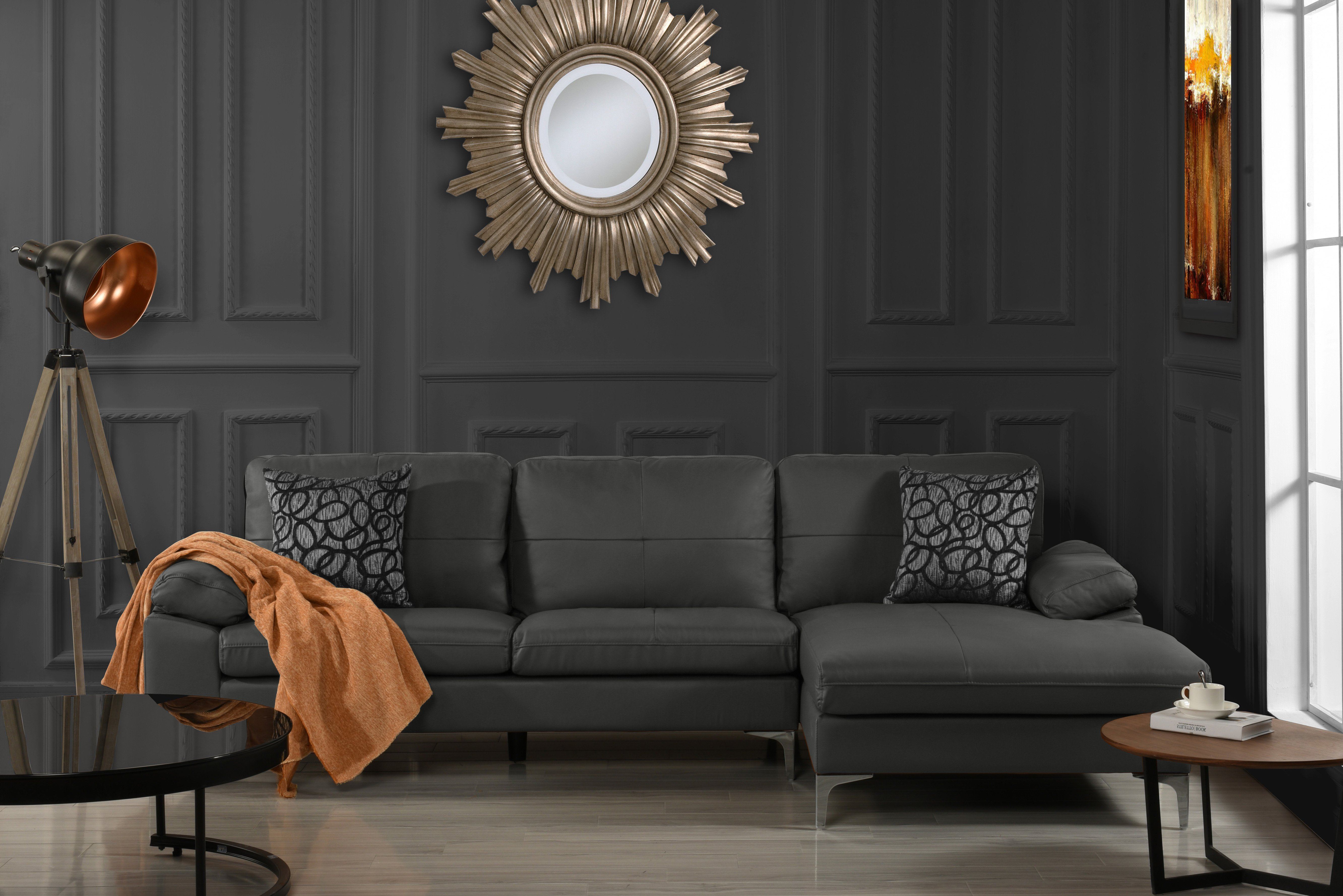 Leather Sectional Sofa L-Shape Couch with Right Facing Chais