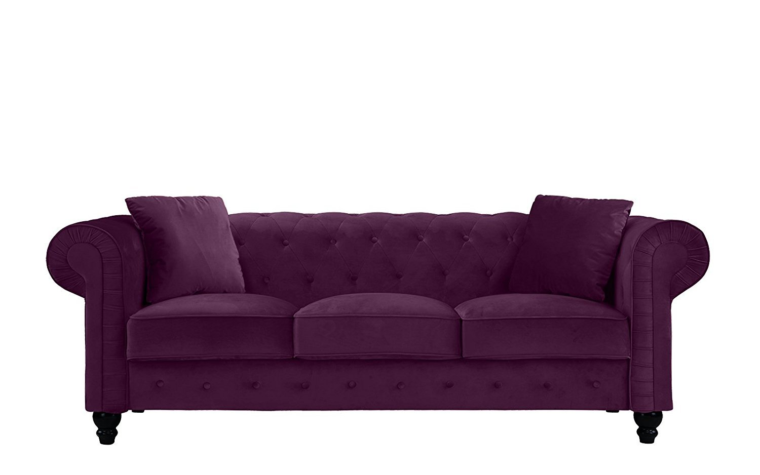 Classic Velvet Scroll Arm Tufted Button Chesterfield Sofa (Purple)