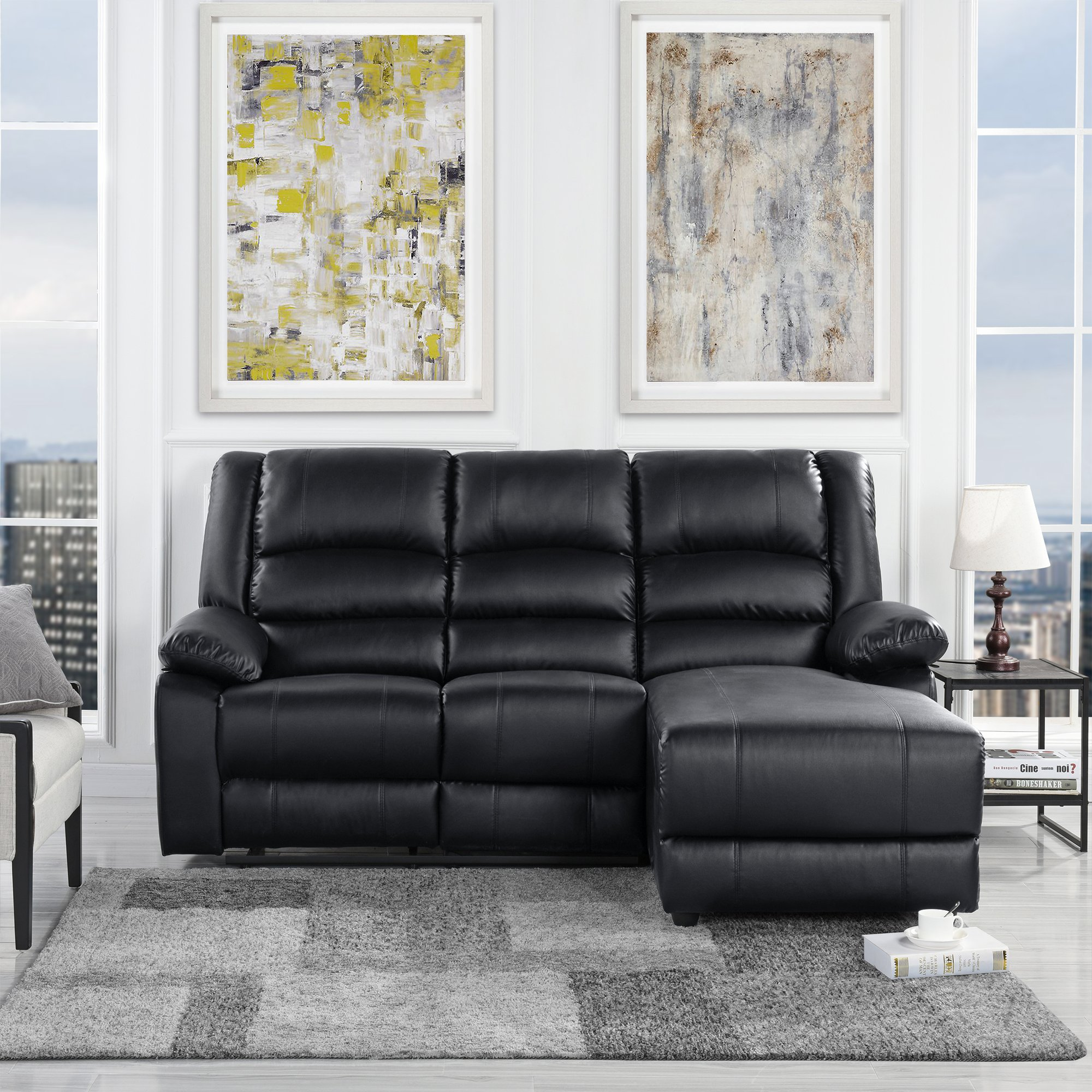 Details About Modern Bonded Leather Loveseat Recliner Sofa Loveseat Reclining Black