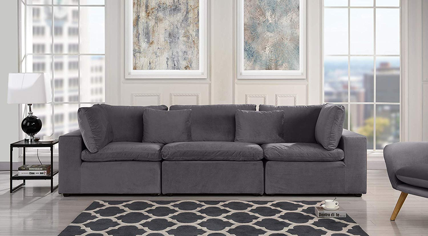 Details about large classic living room sofa plush velvet 3 seater couch grey