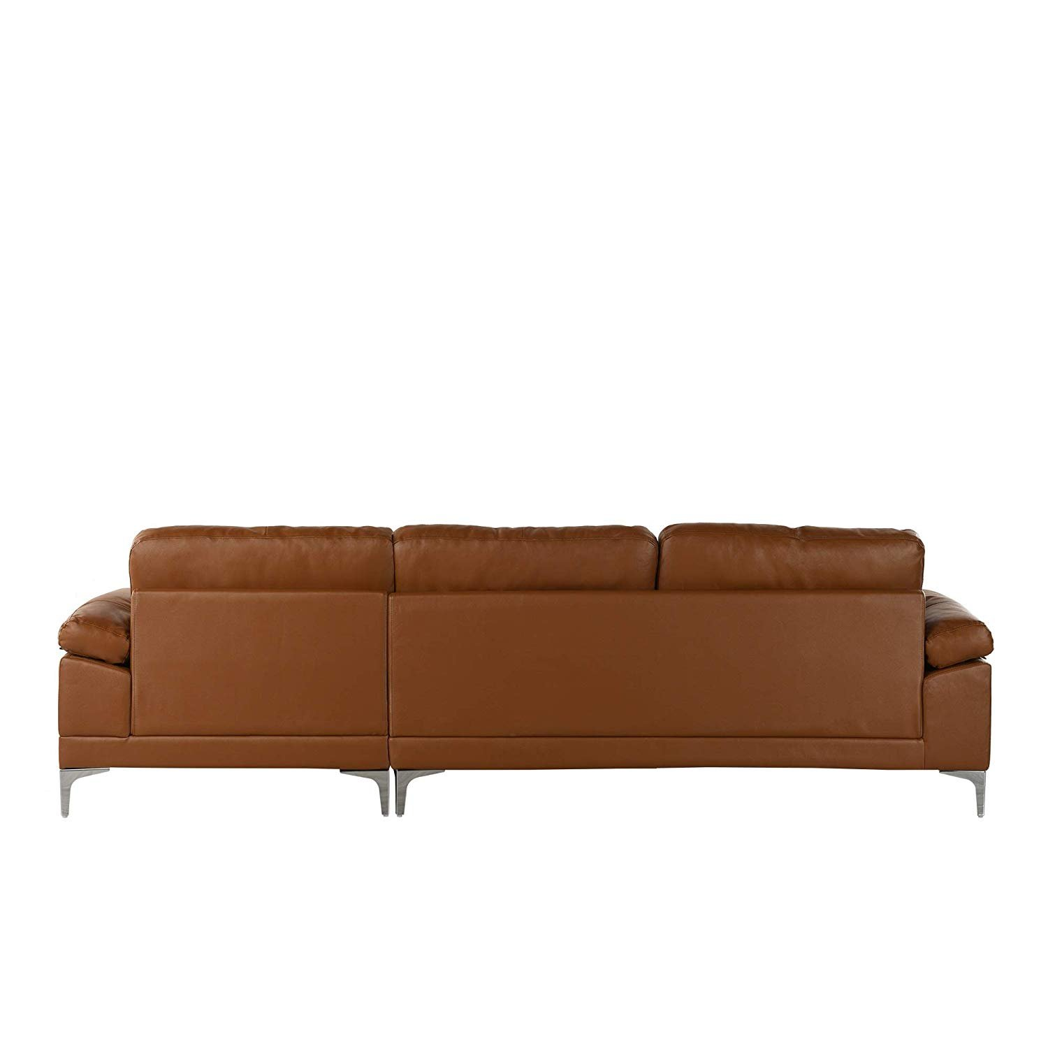 Large Leather Sectional Sofa, L-Shape Couch with Chaise, 108.7\