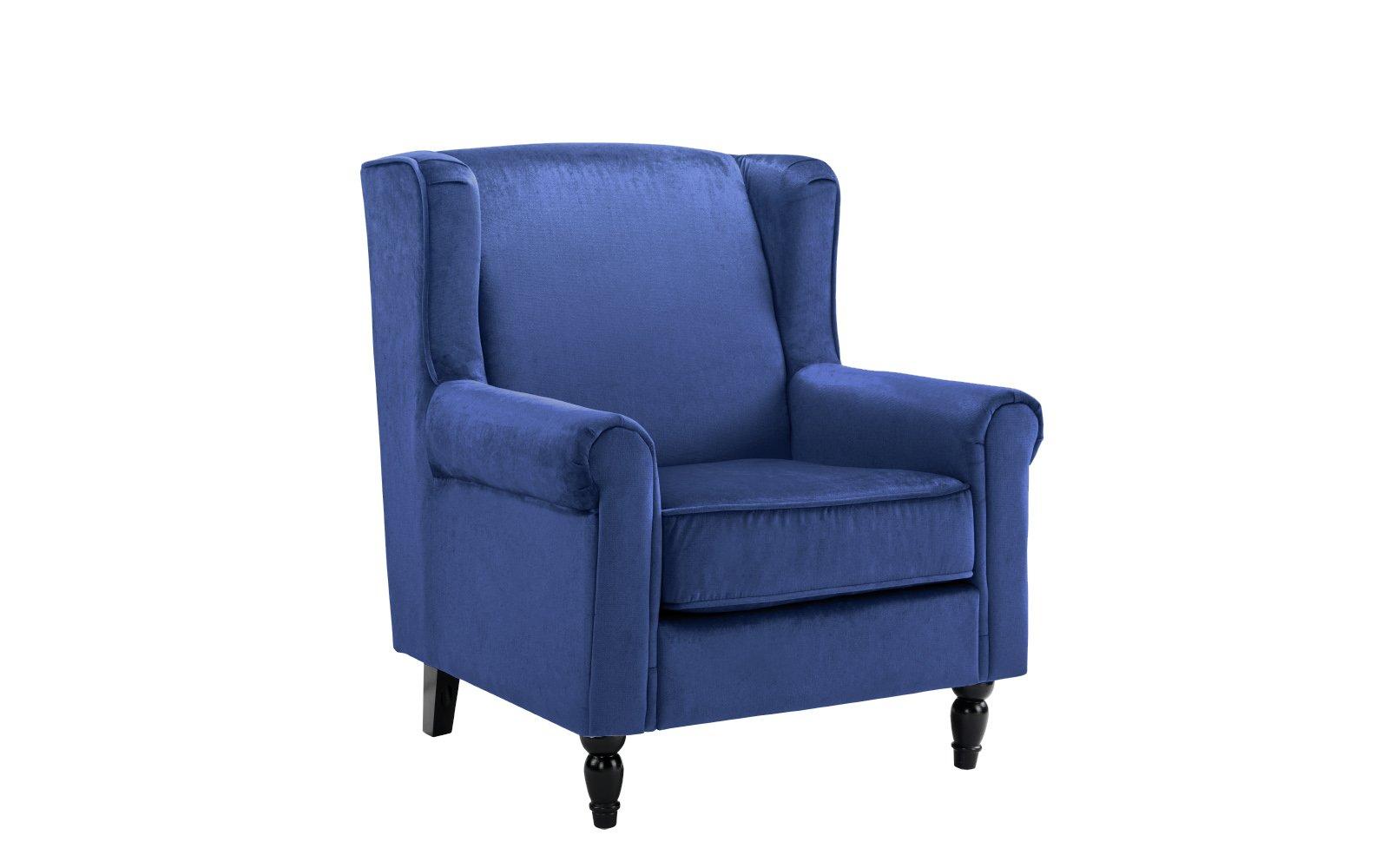 Navy Blue Modern Velvet Fabric Upholstered Arm Chair