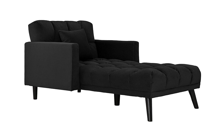 Details About Modern Velvet Recliner Sleeper Chaise Lounge Black