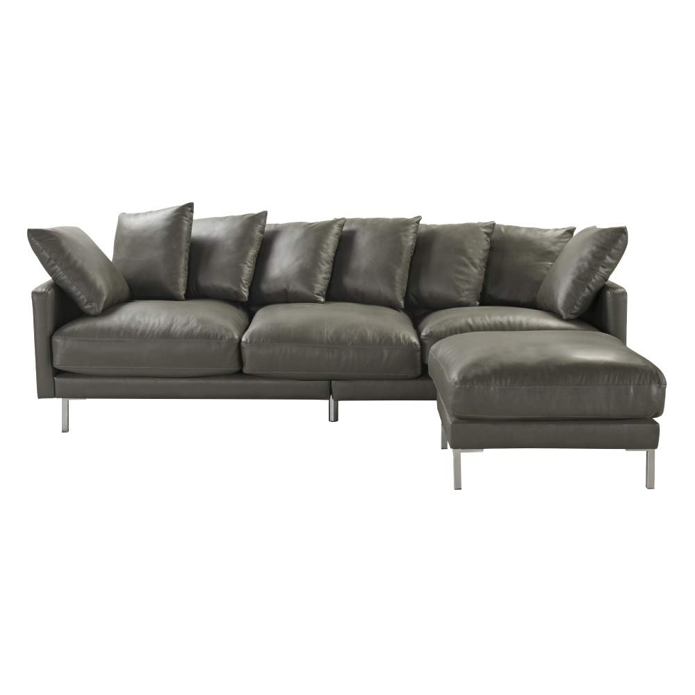 Miraculous Details About Modern Home Leather Match Upholstery Sectional Sofa Chaise Ottoman Couch Grey Alphanode Cool Chair Designs And Ideas Alphanodeonline