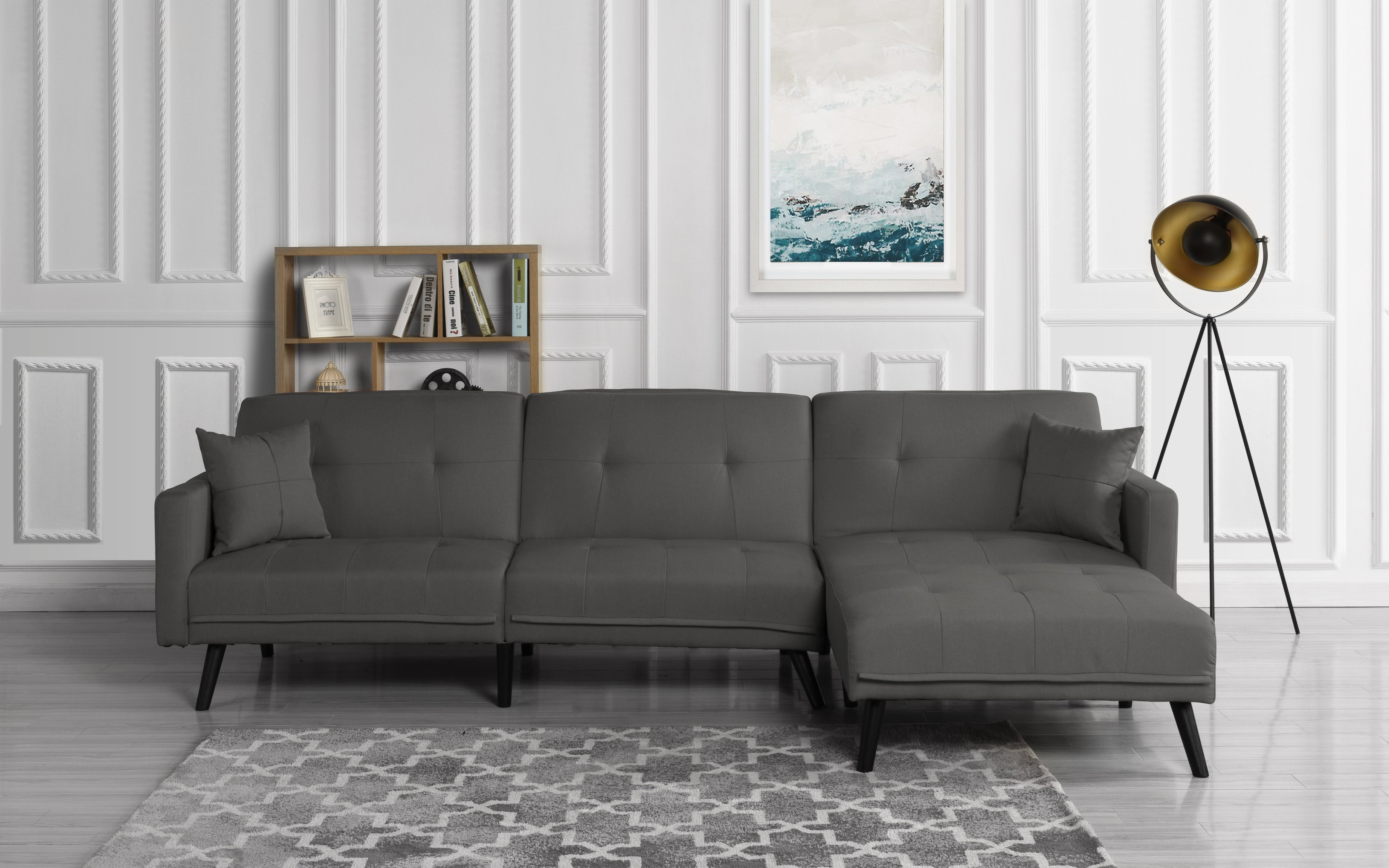 Excellent Details About Mid Century Modern Reversible Sofa Sleeper Futon Sofa L Shape Couch Dark Grey Onthecornerstone Fun Painted Chair Ideas Images Onthecornerstoneorg