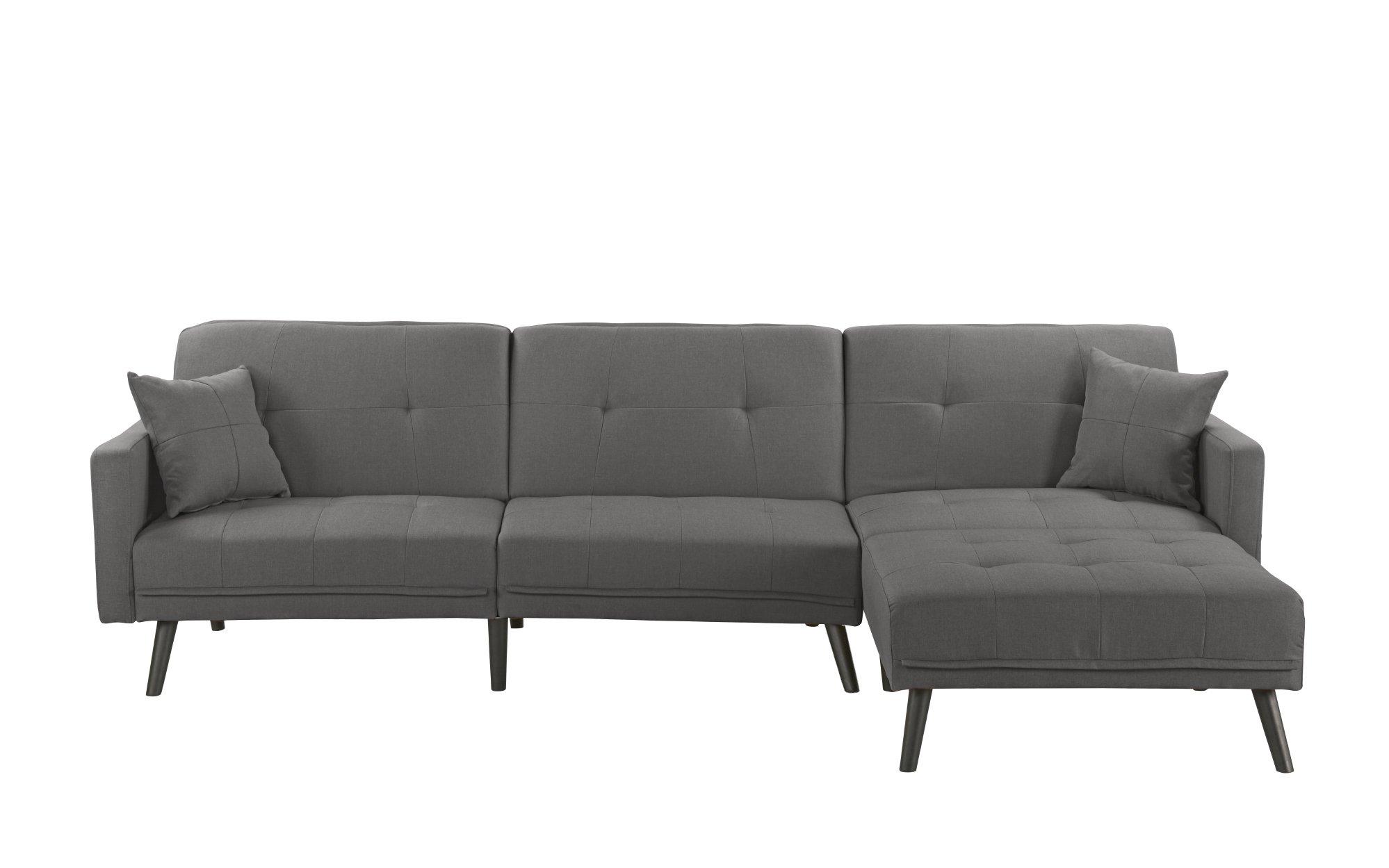 Details about Mid Century Modern Reversible Sofa Sleeper Futon Sofa, L  Shape Couch, Dark Grey