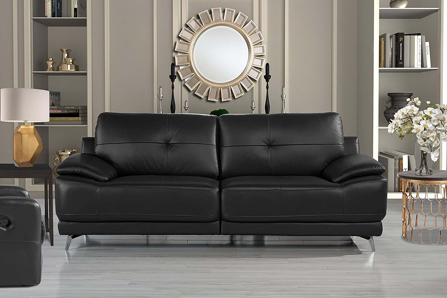 Modern Contemporary Living Room Leather Sofa, Classic Couch (Black ...