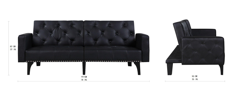 Magnificent Details About Split Back Futon Sofa In Bonded Leather Nailhead Trim Tufted Seats Back Black Forskolin Free Trial Chair Design Images Forskolin Free Trialorg