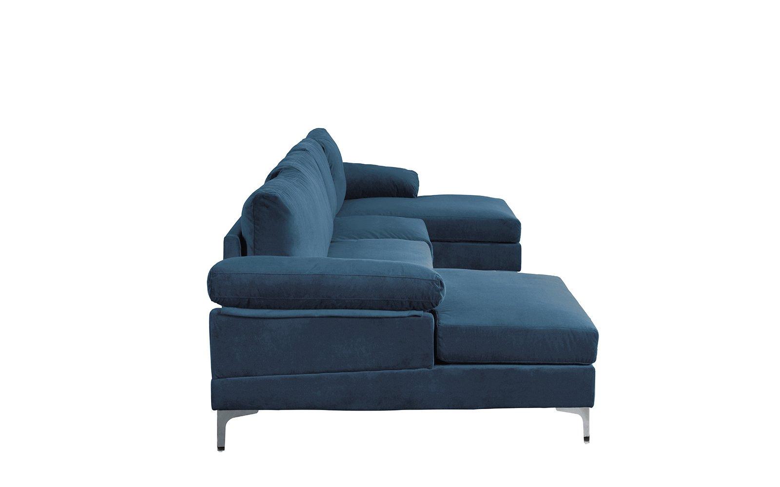 Modern Large Velvet U Shape Sectional Sofa Double Extra ...