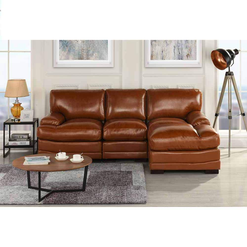 Light Brown Leather Match Sectional Sofa L Shape Right Facing