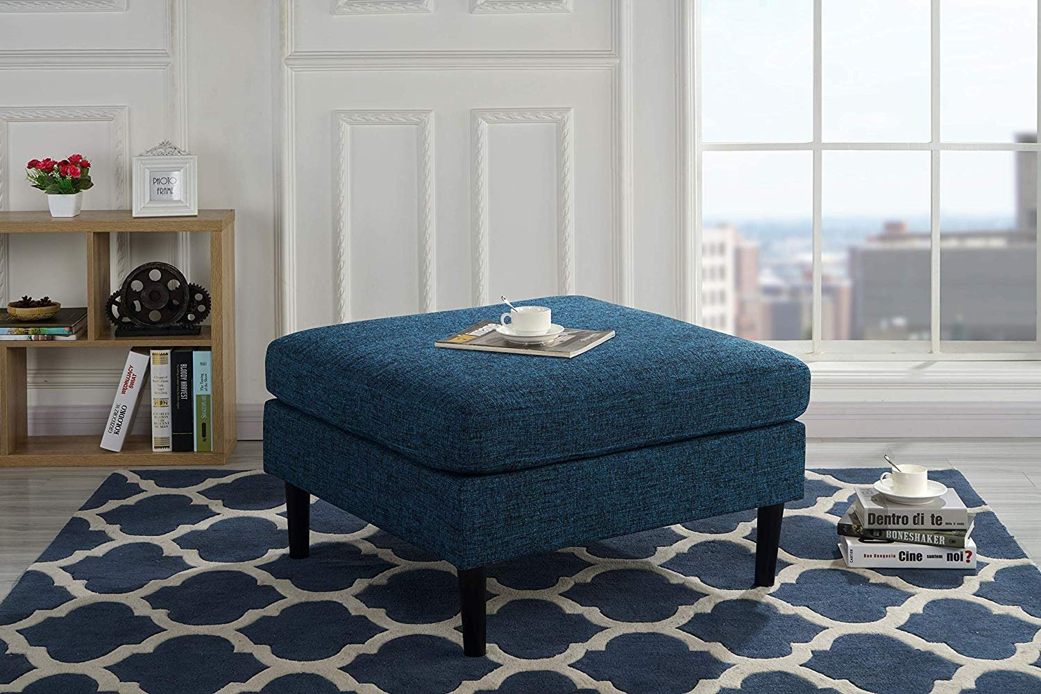 Details About Modern Living Room Accent Table Foot Rest Linen Fabric Ottoman Blue