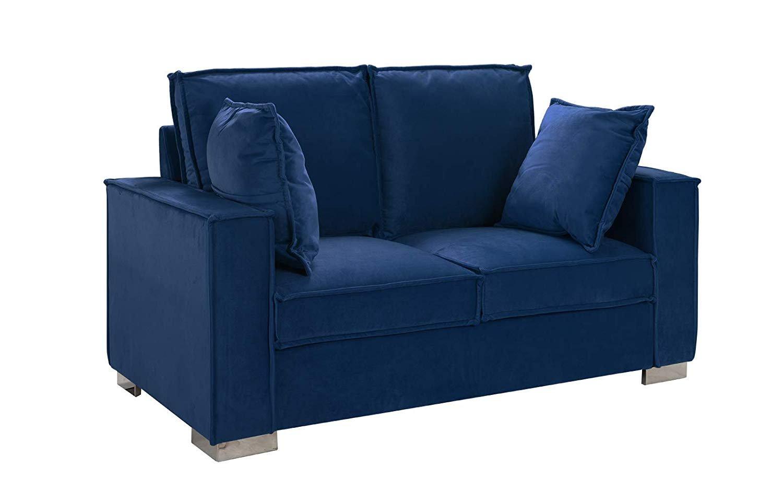 Royal Blue Brush Microfiber Sofa, Small Space Loveseat ...